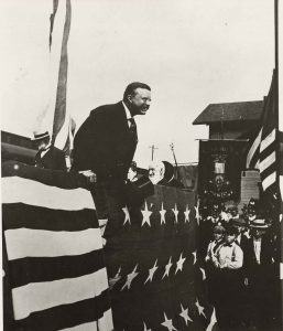 President Theodore Roosevelt spoke at the cornerstone laying for the McKinley building on May 14, 1902