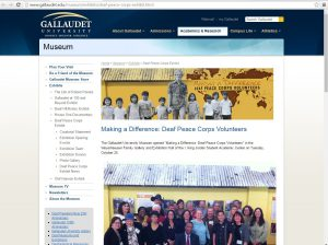 """The webpage for """"Making a Difference: Deaf Peace Corps Volunteers,"""" which debuted at The Gallaudet University Museum."""