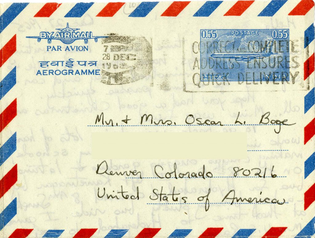 The iconic airmail border is seen here on a letter from Winifred Boge in India to her parents in the 1960s.