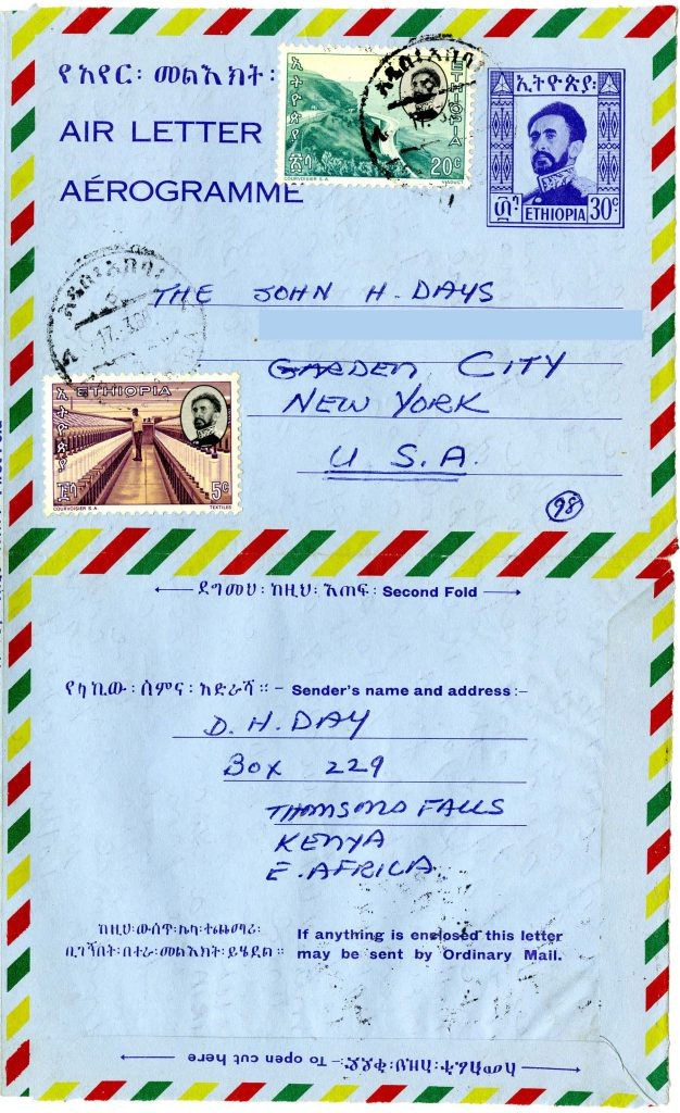 David Day sent this letter to his parents from Ethiopia. The stamps feature Ethiopia's regent from 1930-1974, Haile Selassie I.