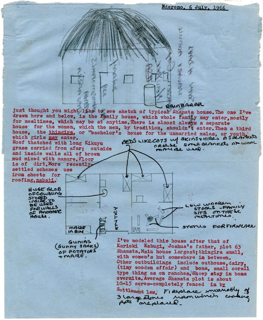 David Day quickly sketched a typical Shamata house from his time in Kenya. He sent the letter to his parents to update them on his experiences in the Peace Corps.