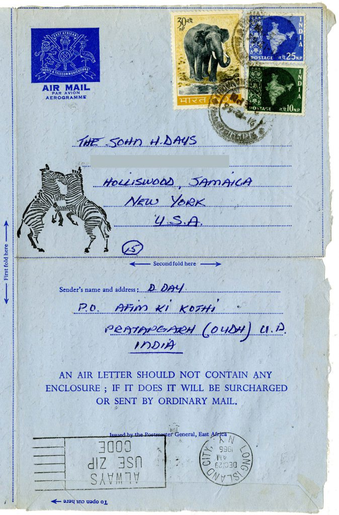 Day also sent Airmail he received in East Africa but sent by postage in India.