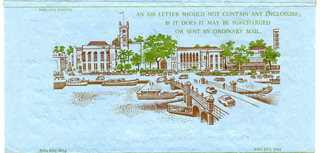 Janet and Steve Kann served in the East Caribbean and sent this Airmail from Barbados. The illustration features the Barbados Parliament Buildings in Bridgetown.
