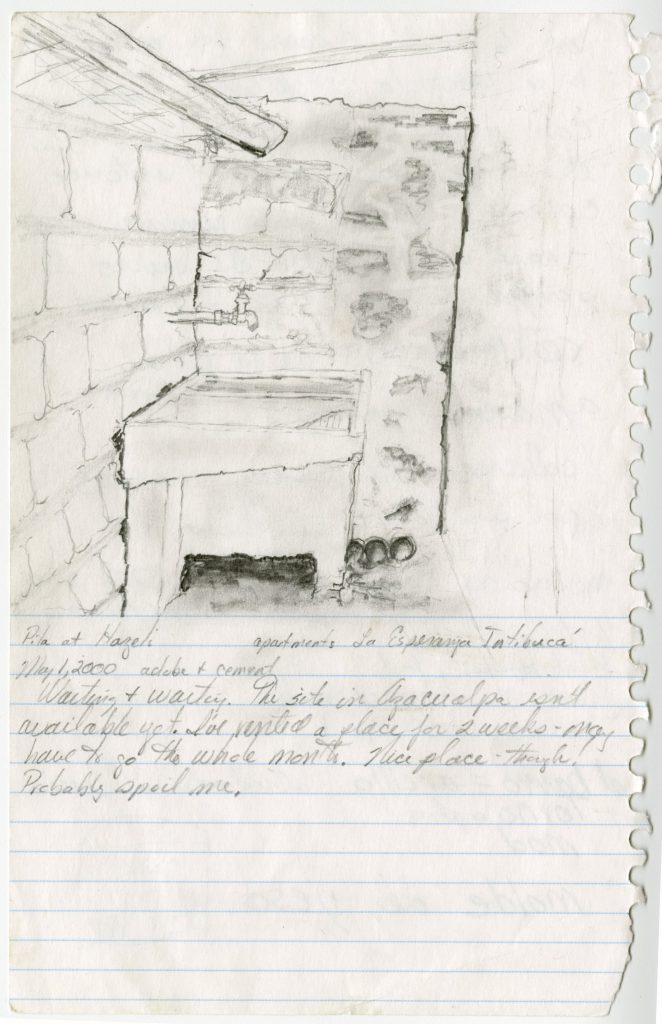 Seibert sketched the corner of her temporary apartment as she waited for her site to become available.