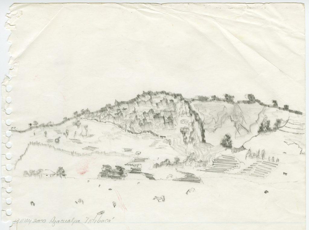 Bobbie Seibert artistically sketched this landscape of Azacualpa, Honduras.