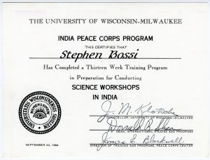 After completion of their training, many PCVs received a certificate like this one. Steve Bossi completed his training in conducting Science Workshops in India from University of Wisconsin, Milwaukee.