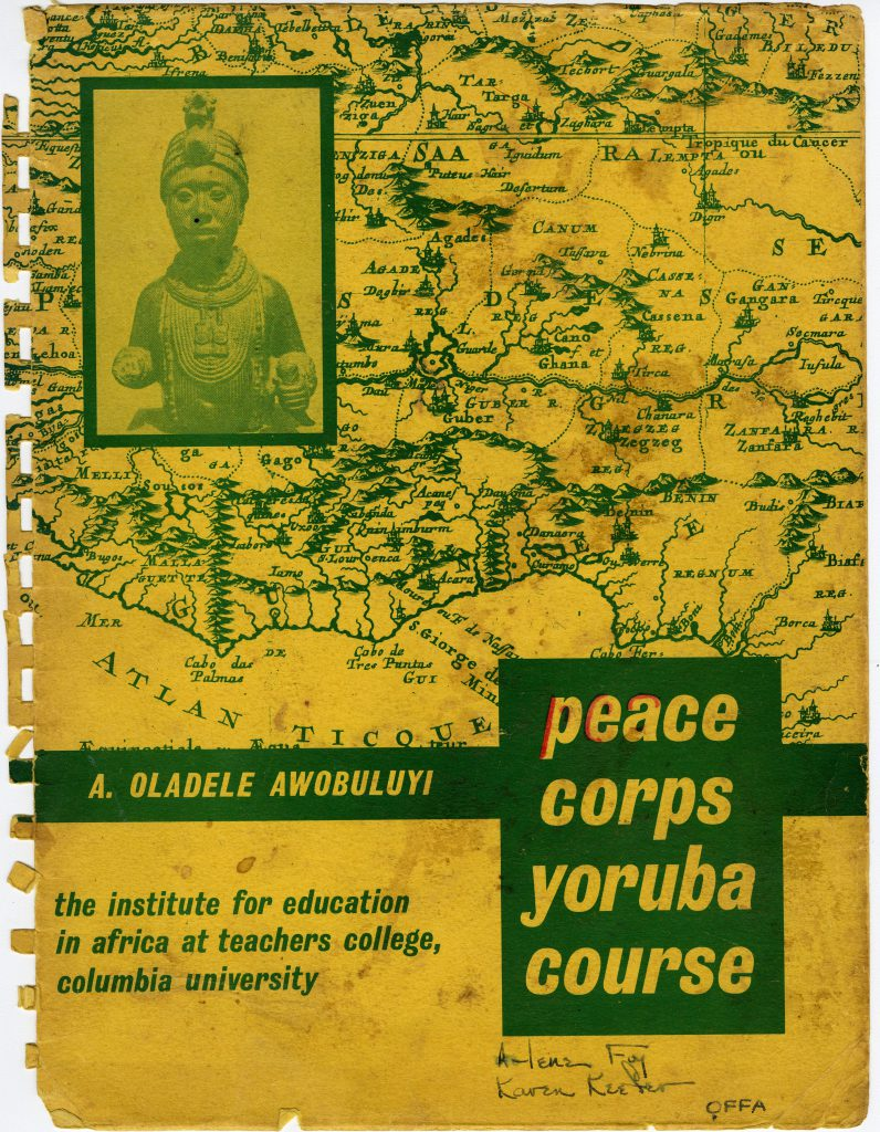 Peace Corps Volunteers all received informational packets on their training, much like this one from Karen Keefer who trained at Columbia University for her service in education in Nigeria.