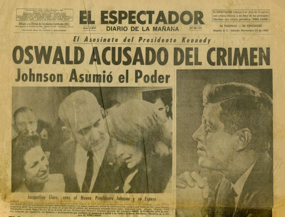 "Colombian newspaper El Espectador with the headline ""Oswald Acusado del Crimen."""