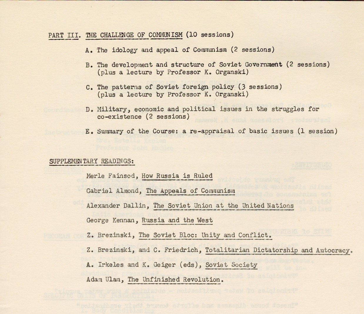 Page from The communism section of the Peace Corps training syllabus.