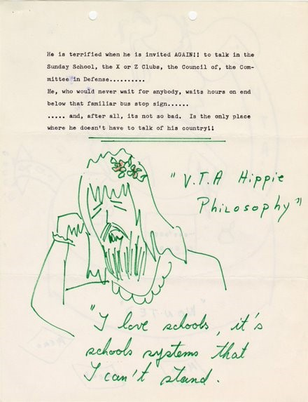 """Cartoon of a crying hippy, reads """"V.T.A. Hippie Philosophy: I love schools, it's schools systems that I can't stand."""""""